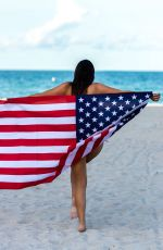 CLAUDIA ROMANI in Bikini in Front of American Flag in Miami 04/02/2019