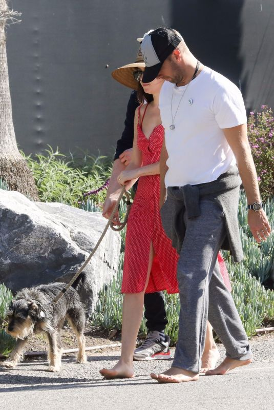 DAKOTA JOHNSON and Chris Martin & Out with Their Dog in ...