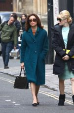 ELLIE BAMBER and SOPHIE COOKSON on the Set of The Trial of Christine Keeler in Bristol 04/09/2019