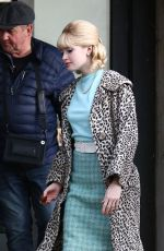 ELLIE BAMBER on the Set of The Trial of Christine Keeler in Bristol 04/10/2019
