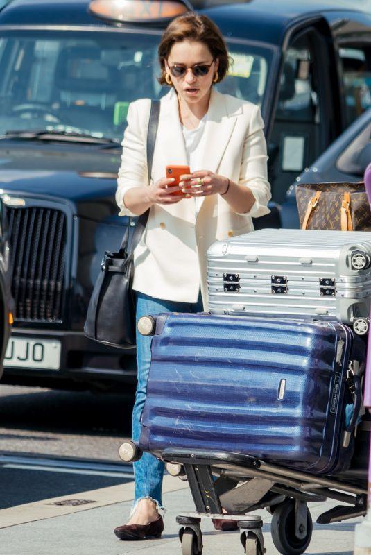 EMILIA CLARKE at Heathrow Airport in London 04/22/2019