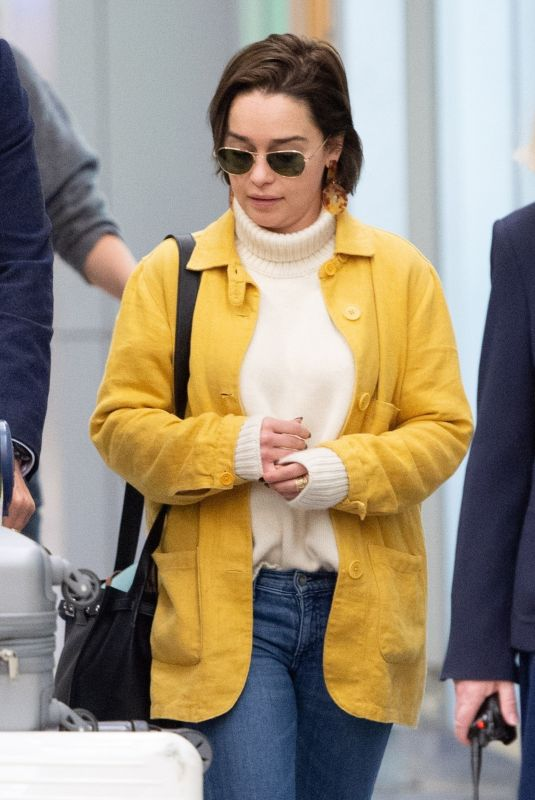EMILIA CLARKE at JFK Airport in New York 03/30/2019