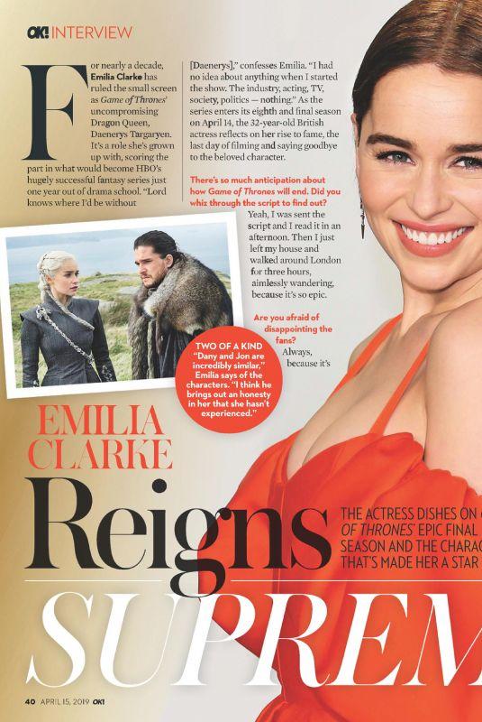 EMILIA CLARKE in OK! Magazine, April 2019