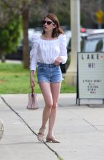 EMMA ROBERTS in Denim Shorts Out in Los Angeles 04/14/2019