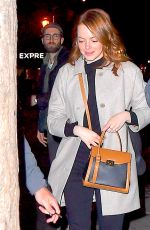 EMMA STONE Out for Dinner in New York 04/09/2019