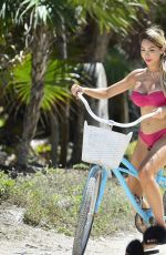 FARRAH ABRAHAM in Bikini Riding a Bike at a Beach in Tulum 04/11/2019
