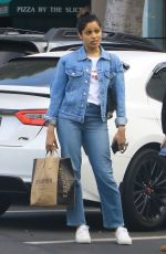 FREIDA PINTO in Double Denim Out in Los Angeles 04/16/2019