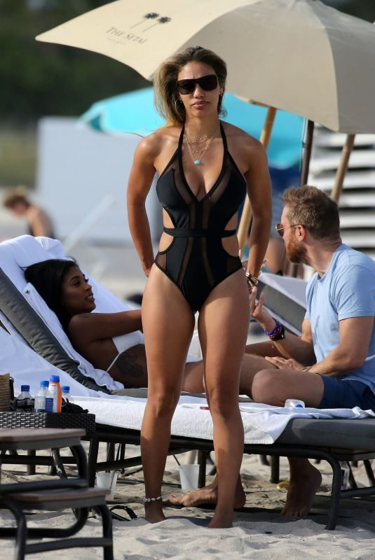 JESSICA LENDON in Swimsuit on the Beach in Miami 03/30/2019