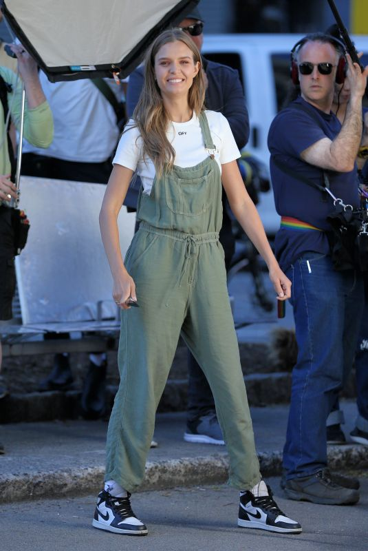 JOSEPHINE SKRIVER on the Set of Maybelline Commercial in New York 04/24/2019