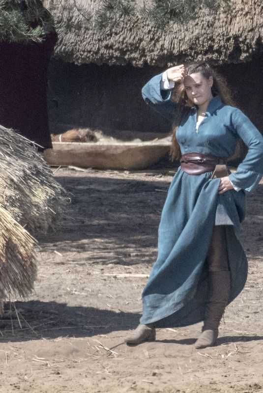 KATHERINE LANGFORD on the Set of Cursed in Frensham 04/27/2019