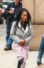 KEKE PALMER Arrives on the Set of Hustlers in New York 04/08/2019