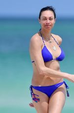 LILLY BECKER in Blue Bikini on the Beach in Miami 04/15/2019