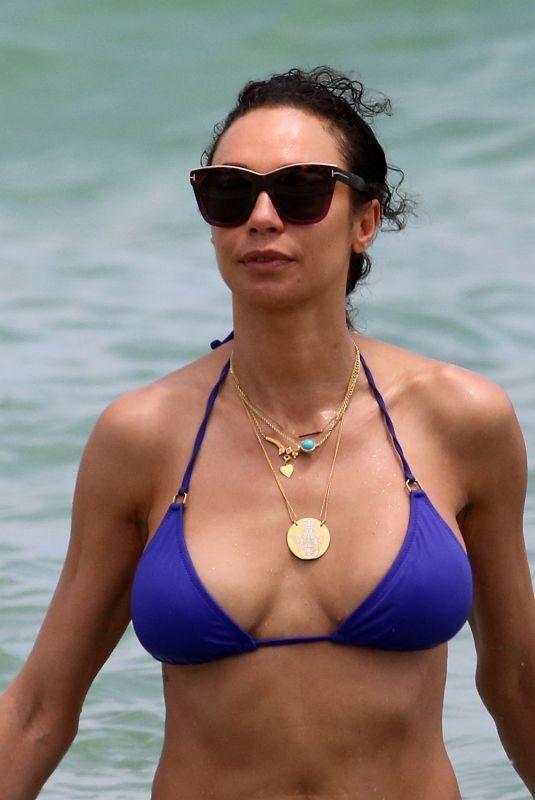 LILLY BECKER in Blue Bikini on the Beach in Miami 04/15/2019