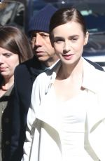 LILY COLLINS Arrives at Good Morning America in New York 04/10/2019