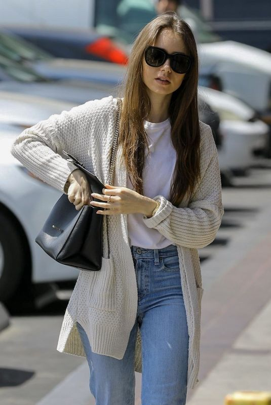 LILY COLLINS Heading to a Spa in Hollywood 04/15/2109