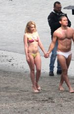 LUDIVINE SAGNIER in Bikini on the Set of The New Pope on the Beach in Venice 04/08/2019