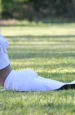 LYRA RAE Doing Yoga at a Park in Los Angeles 04/03/2019
