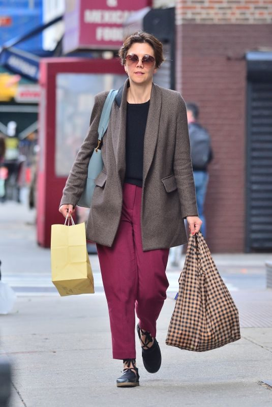 MAGGIE GYLLENHAAL Out Shopping in New York 04/15/2019