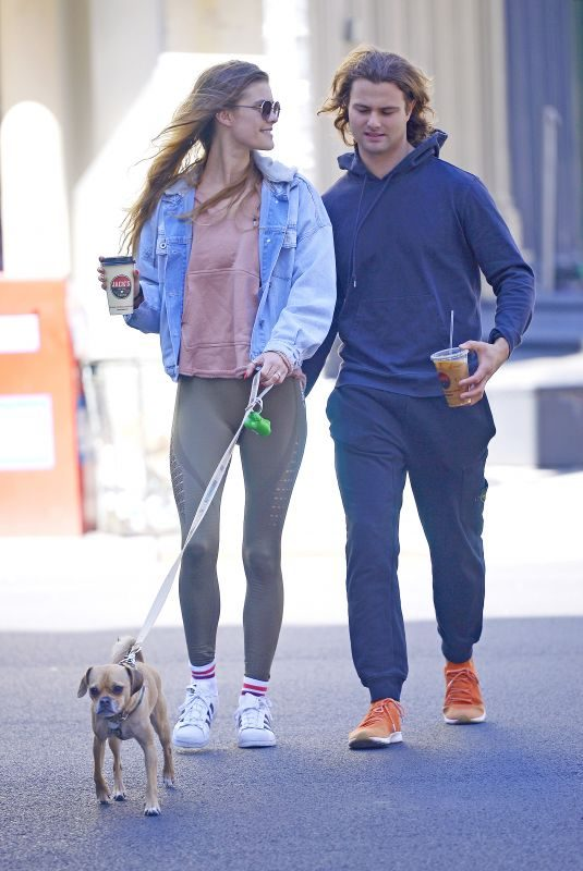 NINA AGDAL and Jack Brinkley with Their Dog Out in New York 04/24/2019