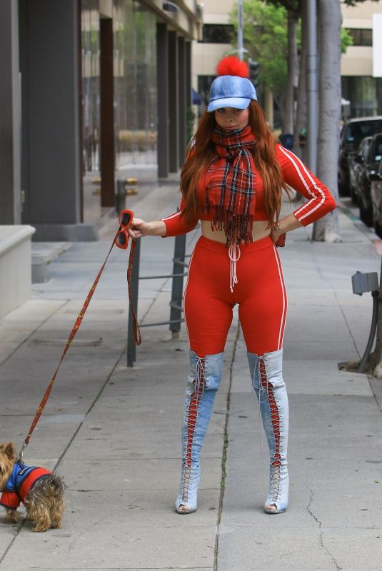 PHOEBE PRICE Out with Her Dog in Beverly Hills 04/16/2019