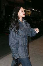 RIHANNA All in Denim Out for Dinner in New York 04/16/2019