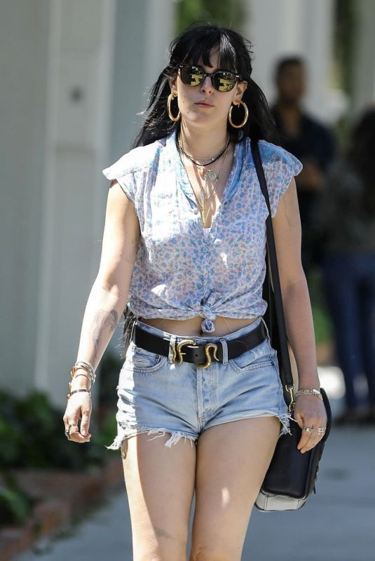 RUMER WILLIS in Denim Shorts Out in West Hollywood 04/10/2019