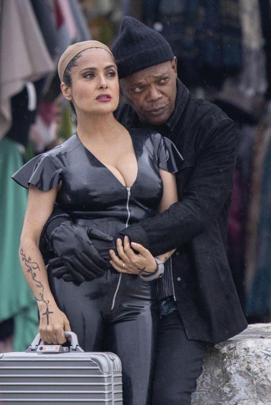 SALMA HAYEK and Samuel L. Jackson on the Set of The Hitman's Wife's Bodyguard in Croatia 04/10/2019