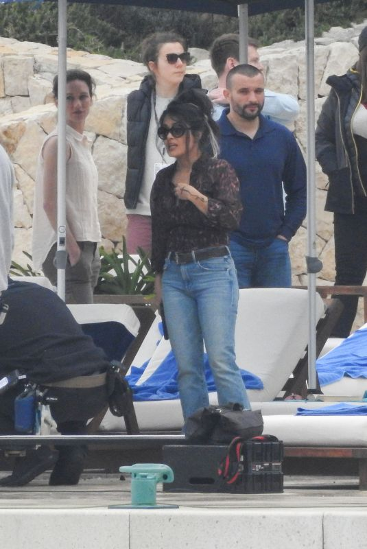 SALMA HAYEK on the Set of The Hitman