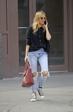 SIENNA MILLER in Ripped Jeans Out in New York 04/09/2019