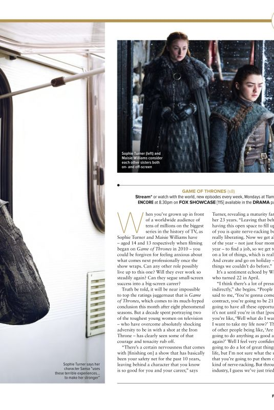 SOPHIE TURNER and MAISIE WILLIAMS in The Hollywood Reporter, April 2019