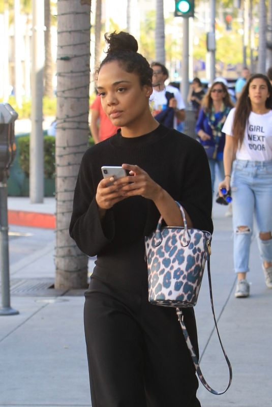 TESSA THOMPSON Shopping on Rodeo Drive in Beverly Hills 04/17/2019