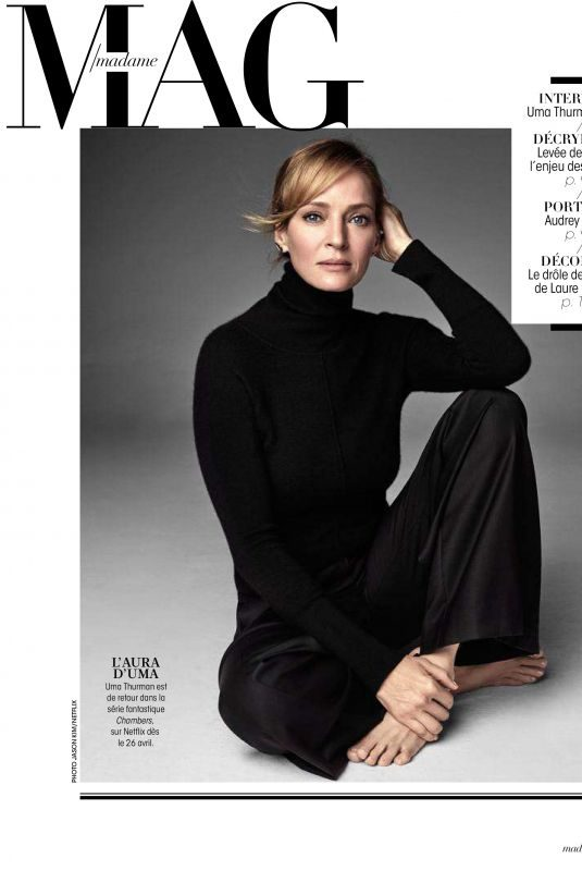 UMA THURMAN in Madame Figaro Magazine, April 2019