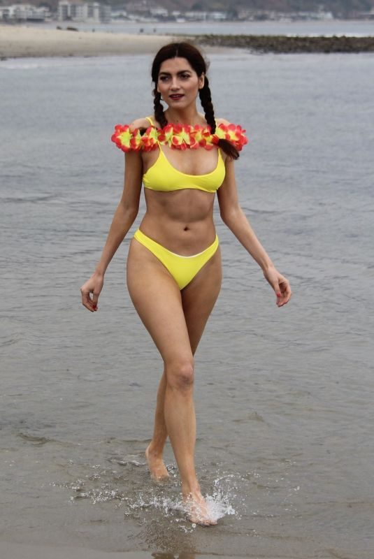 BLANCA BLANCO in Yellow Bikini at a Beach in Malibu 04/30/2019