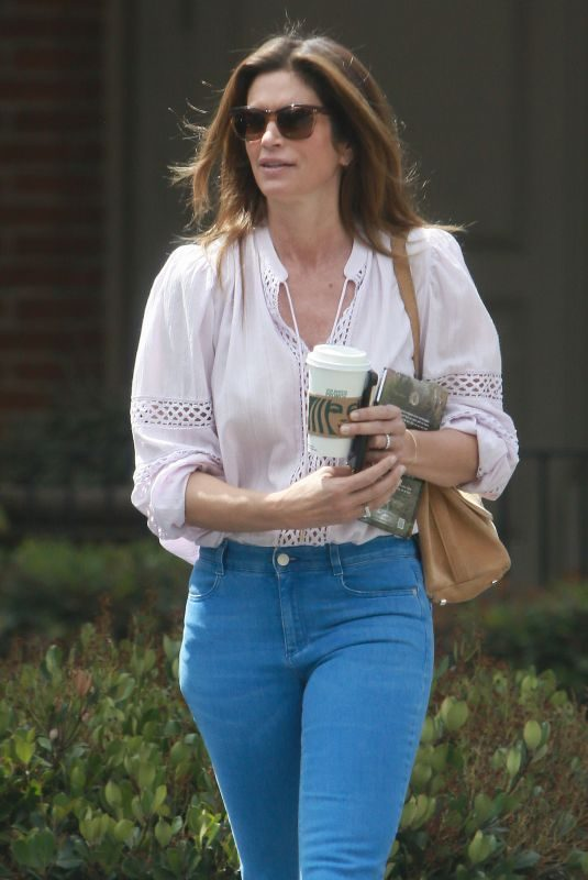 CINDY CRAWFORD in Denim Out for Coffee in Los Angeles 05/21/2019
