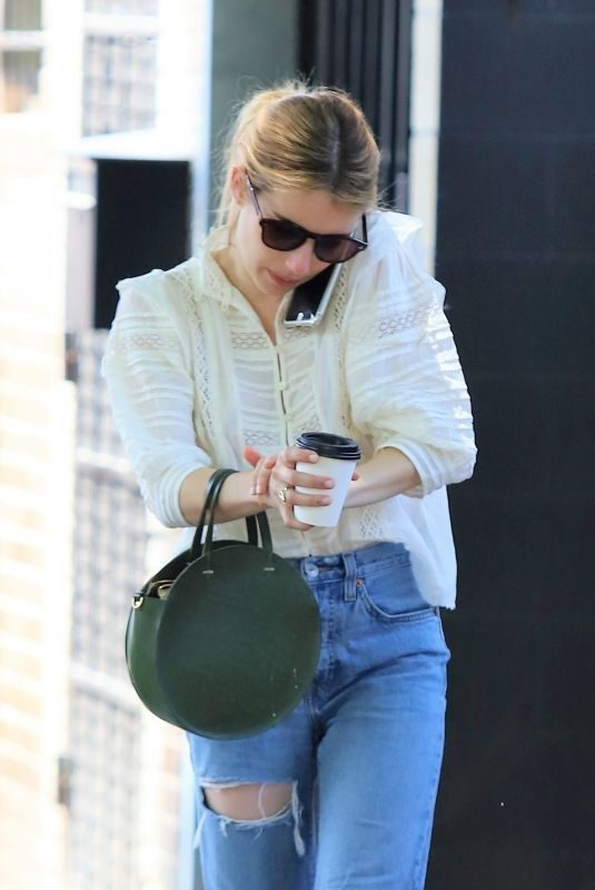 EMMA ROBERTS in Ripped Jeans Out for Lunch in Los Feliz 05/04/2019