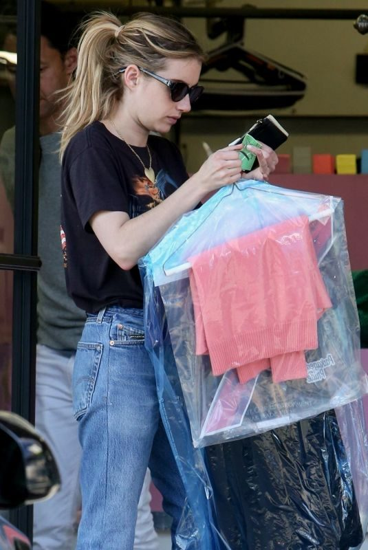 EMMA ROBERTS Leaves Dry Cleaning in Los Angeles 05/01/2019