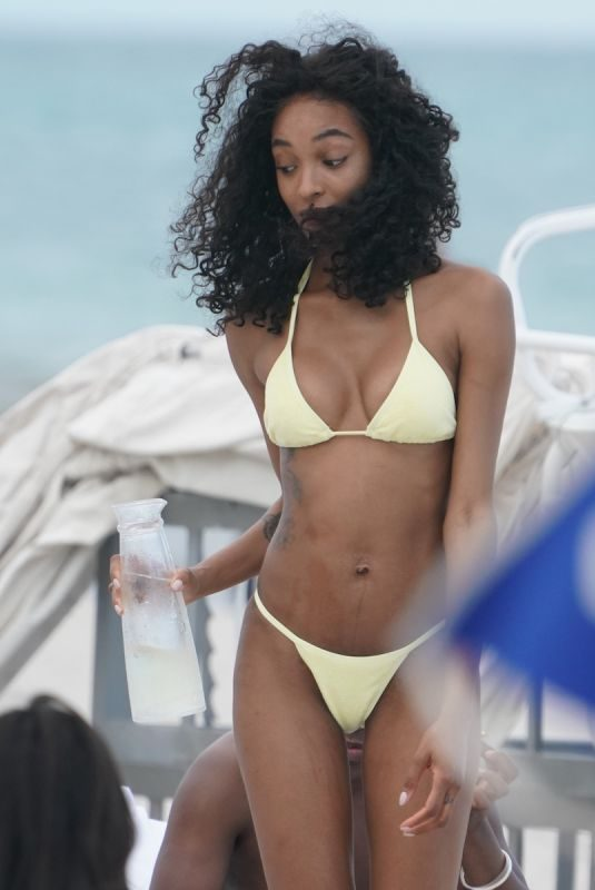 JOURDAN DUNN in Bikini at a Beach in Miami 05/12/2019