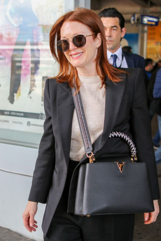 JULIANNE MOORE Arrives at Airport in Nice at Cannes Film Festival 05/13/2019