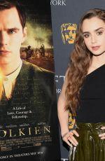 LILY COLLINS at Bafta Tolkien Screening in New York 05/01/2019