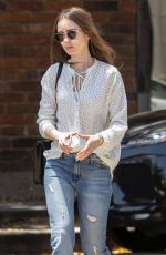 LILY COLLINS at Il Piccolino Italian Restaurant in West Hollywood 05/29/2019