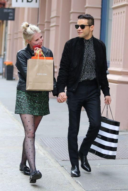LUCY BOYNTON and Rami Malek Out Shopping in New York 04/29/2019