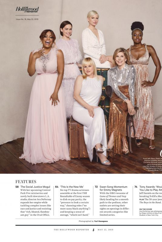 NIECY NASH, EMILIA CLARKE, PATRICIA ARQUETTE, MICHELLE WILLIAMS, CHRISTINE BARANSKI and DANAI GURIRA in The Hollywood Reporter, Drama Actress Roundtable, May 2019