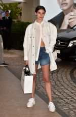 SARA SAMPAIO in Denim SHorts at Martinez Hotel in Cannes 05/20/2019