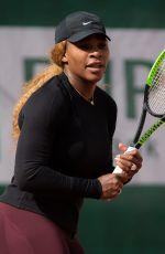 SERENA WILLIAMS Practises at Roland Garros French Open Tournament in Paris 05/24/2019