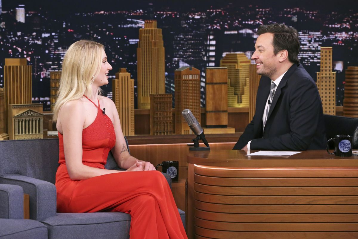 Image result for sophie turner on jimmy fallon