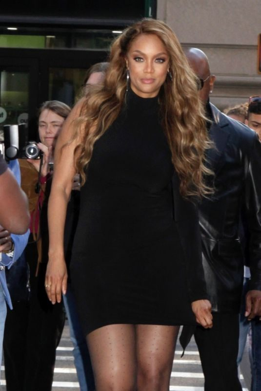 TYRA BANKS Arrives at AOL Build in New York 05/08/2019