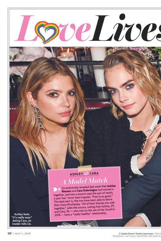 ASHLEY BENSON and CARA DELEVINGNE in US Weekly Magazine, July 2019