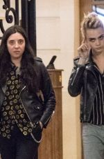 ASHLEY BENSON and CARA DELEVINGNE Leaves Ritz Hotel in Paris 06/20/2019