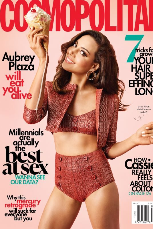 AUBREY PLAZA in Cosmopolitan Magazine, July 2019