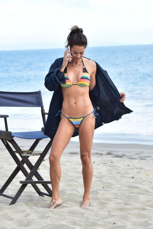BROOKE BURKE in Bikini at a Photoshoot on the Beach in Malibu 06/20/2019